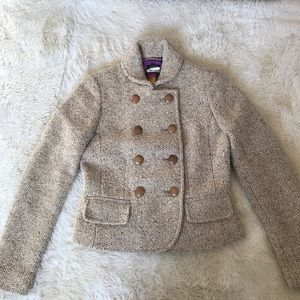 J. Crew double-breasted tweed jacket, tan